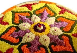 Onam festival floral mat