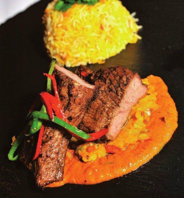 Pan fried spicy beef steak