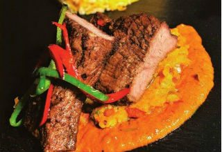 Pan fried spicy beef steak